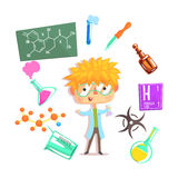 Boy Chemist, Kids Future Dream Professional Occupation Illustration With Related To Profession Objects. Smiling Child Carton Character With Career Attributes royalty free illustration