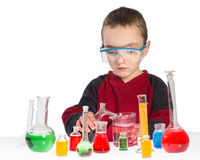 Boy in chemistry class, chemistry lesson Stock Photography