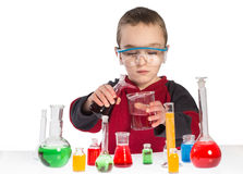 Boy in chemistry class, chemistry lesson Stock Photos