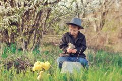 The boy with a chicken Royalty Free Stock Photos