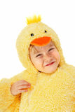 Boy in a chicken costume Stock Photo