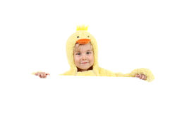 Boy in a chicken costume holding a sign Stock Photos