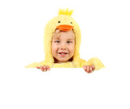 Boy in chicken costume holding sign Royalty Free Stock Photos