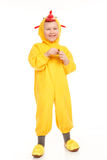 Boy in the chicken costume Royalty Free Stock Image