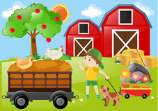 Boy and chicken in the farm stock illustration