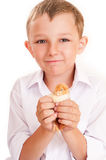 Boy with a chicken in hands Royalty Free Stock Photography