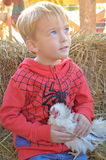 Boy With Chicken. A young boy holds a chicken on farm Stock Photo