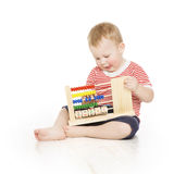 Boy child with abacus clock counting, smart little kid study les. Son, education development stock photos