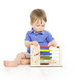 Boy child with abacus clock counting, smart little kid study les. Son, education development royalty free stock images