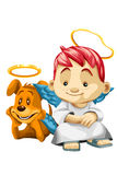 Boy child angel dog character cartoon style  illustration Stock Photo