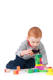 Boy child building kids block tower isolated royalty free stock photos