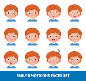 Boy child cute emoji, set smily emoticons faces Royalty Free Stock Image