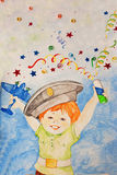 Boy child drawing happiness holiday joy party poppers crayons, gouache Royalty Free Stock Image