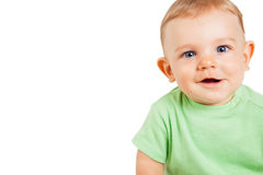 Boy child with funny cute expression isolated Stock Photos