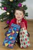 Boy child happy. Boy child happy over christmas tree Stock Photos
