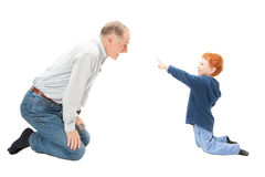 Boy child having fun with grandfather. Boy child having fun with his grandfather. Isolated on white Royalty Free Stock Photography