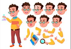 Boy, Child, Kid, Teen Vector. Schooler. Young. Face Emotions, Various Gestures. Animation Creation Set. Isolated Flat