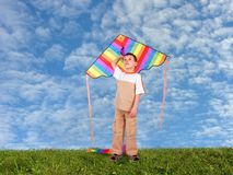 Boy child with kite on meadow collage Stock Images