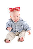 Boy child is in a plaid shirt Stock Photos