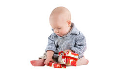 Boy child played festive gifts Royalty Free Stock Photography