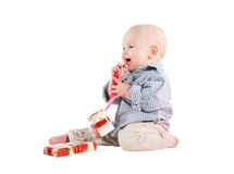 Boy child played festive gifts Stock Photo