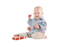 Boy child played festive gifts Stock Image