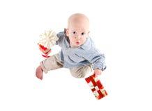 Boy child played festive gifts Royalty Free Stock Photo