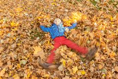 Boy child playing snow angel in fallen leaves royalty free stock photography