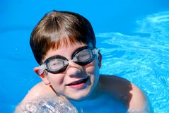 Boy child pool Stock Photo