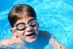 Boy child pool Royalty Free Stock Image