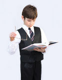 Boy, child, pupil of school reads the textbook Stock Photo