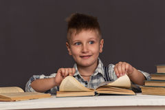 Boy Child Read Book, Children Education Royalty Free Stock Photo
