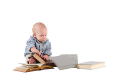Boy child is reading books Royalty Free Stock Photography