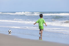 Boy Child Running Beach Playing Football Soccer Royalty Free Stock Photo