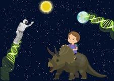 Boy child school ride triceratops dinosaur dream in space meet alien robot DNA. Stars dark sky Sun Earth. Vector cute cartoon back Stock Image