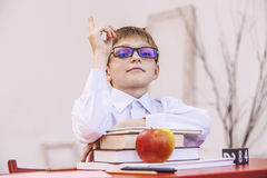 Boy, child, at school, at a school Desk with books in the glasse Royalty Free Stock Photo