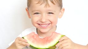 Boy child sitting at table with pleasure eating watermelon on white background, close-up. 4k stock footage
