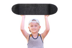 Boy Child with Skateboard raised up his Head as Winner Royalty Free Stock Image