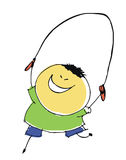 Boy child skips over rope - cartoon people vector illustration s Royalty Free Stock Photos