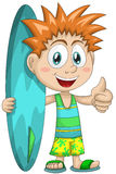 Boy child surfer character cartoon style  illustration Stock Photos