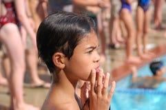Boy, Child, Thinking, Swimming Stock Photo