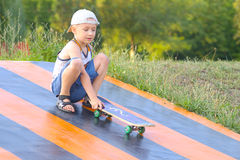 Boy Child Training Skateboard Outdoor Summer Sport Royalty Free Stock Photo