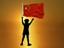 Boy China Flag Stock Photography