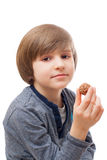 Boy with chocolate candy Royalty Free Stock Image