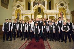 Boy Choir of Munkacs perform in Budapest Stock Images