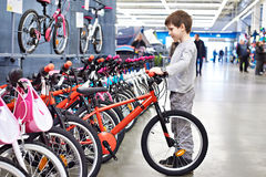 Boy chooses bicycle in sports supermarket Stock Photos