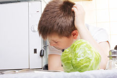 Boy choosing recipe Stock Images