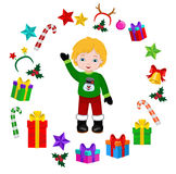 Boy with Christmas Costume and round frame. Stock Photo