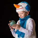 Boy Christmas costume snowman Royalty Free Stock Photos