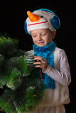 Boy Christmas costume snowman Royalty Free Stock Photography